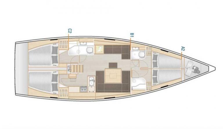 Hanse 458 layout odysseus